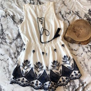 J By J.O.A Embroidered Romper White and Navy Blue